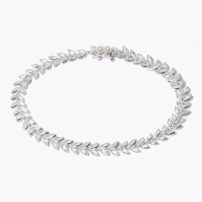 18ct White Gold White Sapphire Vine Bracelet
