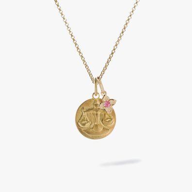 Gold Libra & Tourmaline October Birthstone Necklace