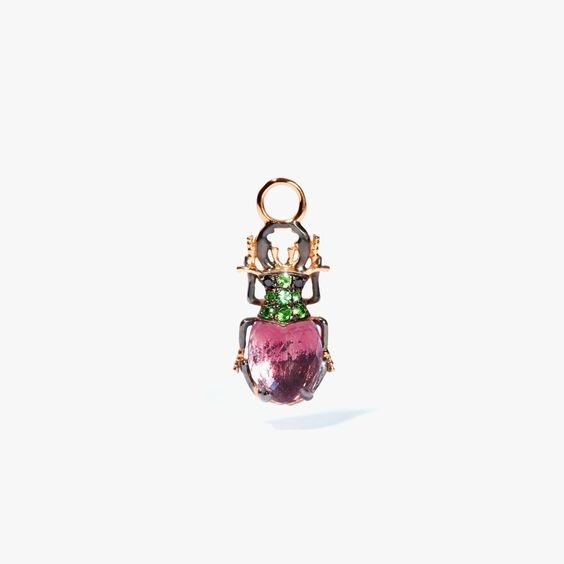Mythology 18ct Rose Gold Amethyst Beetle Single Earring Drop | Annoushka jewelley