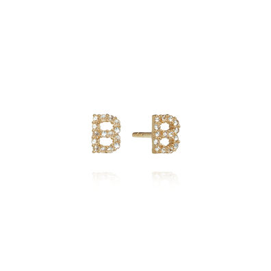 A pair of 18ct Gold Diamond Initial B Stud Earrings