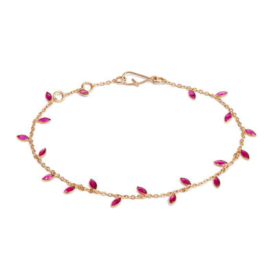 18ct Gold Ruby Vine Leaf Bracelet