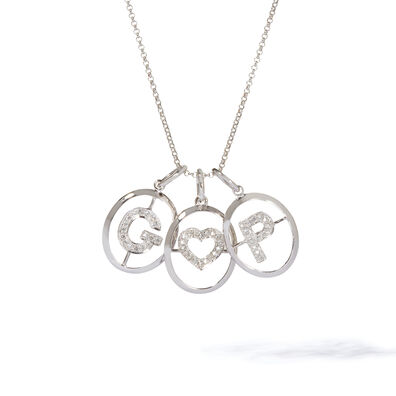18ct White Gold Initial Love Necklace