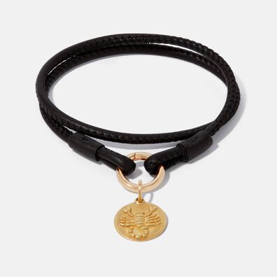 18ct Gold Lovelink 41cms Leather Scorpio Charm Bracelet