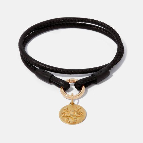 18ct Gold Lovelink 41cms Leather Scorpio Charm Bracelet | Annoushka jewelley