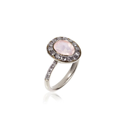 Dusty Diamonds 18ct White Gold Rose Quartz Ring