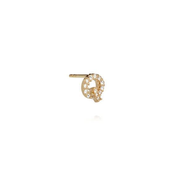 18ct Gold Diamond Initial Q Single Stud Earring