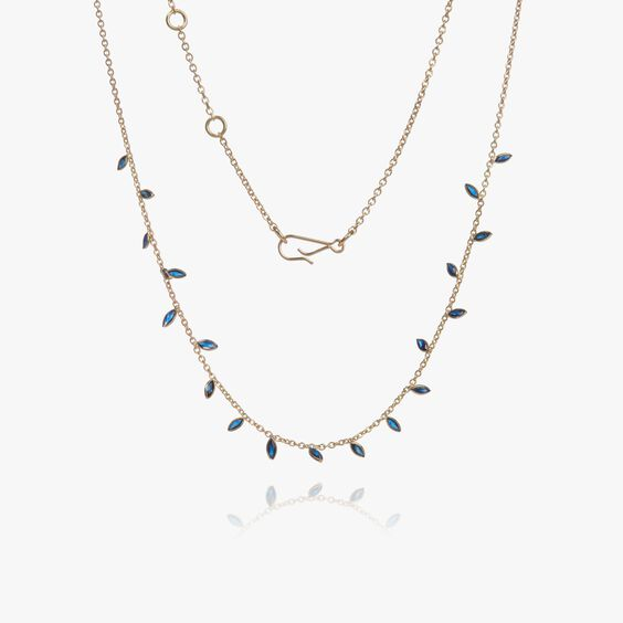 18ct Gold Sapphire Vine Leaf Necklace | Annoushka jewelley