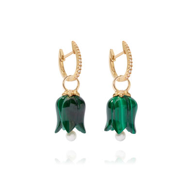 18ct Gold Malachite Pearl Tulip Earrings