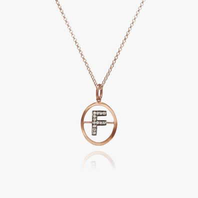 18ct Rose Gold Initial F Necklace