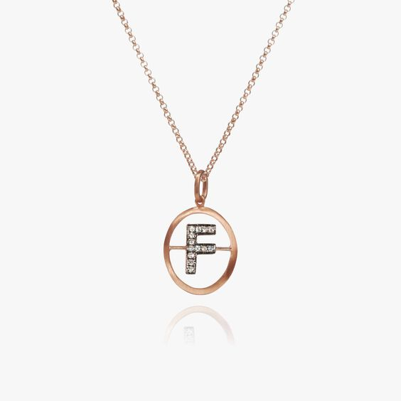 18ct Rose Gold Initial F Necklace | Annoushka jewelley
