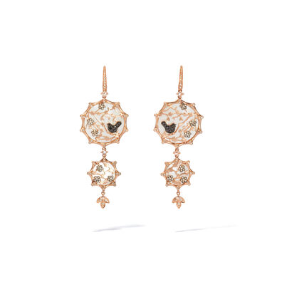 Dream Catcher 18ct Rose Gold Diamond Pearl Earrings