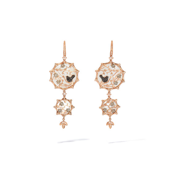 Dream Catcher 18ct Rose Gold Diamond Pearl Earrings | Annoushka jewelley