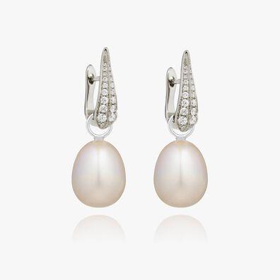 18ct White Gold Pearl Diamond Earrings