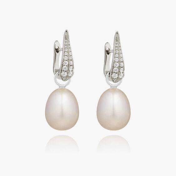 18ct White Gold Pearl Diamond Earrings | Annoushka jewelley