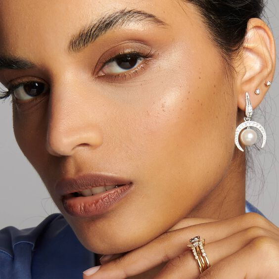 18ct White Gold Diamonds & Pearl Earring Drops | Annoushka jewelley