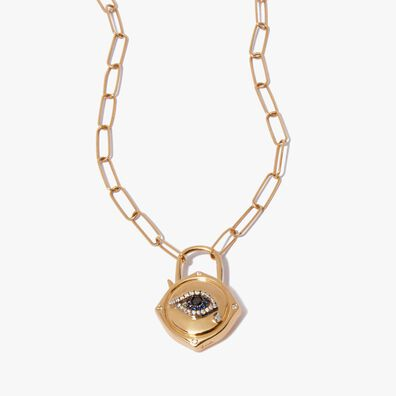 Lovelock 14ct Gold Mini Cable Chain Evil Eye Charm Necklace