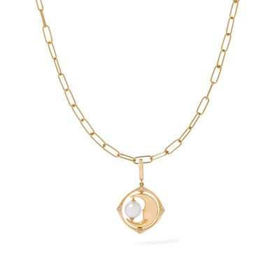 Mythology 18ct Gold Pearl Spinning Moon Mini Charm Necklace