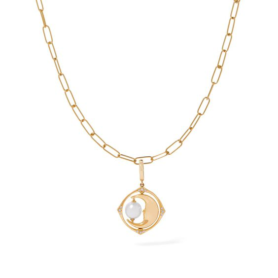 Mythology 18ct Gold Pearl Spinning Moon Mini Charm Necklace | Annoushka jewelley