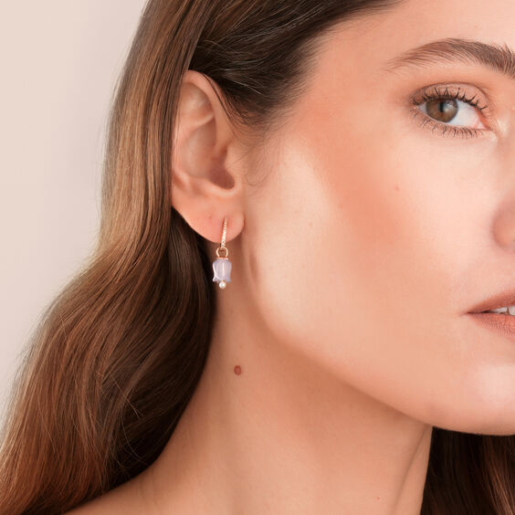 18ct Rose Gold Lavender Jade Tulip Earring Drops