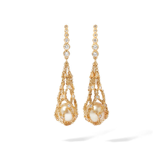 Lattice 18ct Gold Pearl & Diamond Net Earrings | Annoushka jewelley