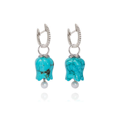 18ct White Gold Turquoise Tulip Earrings