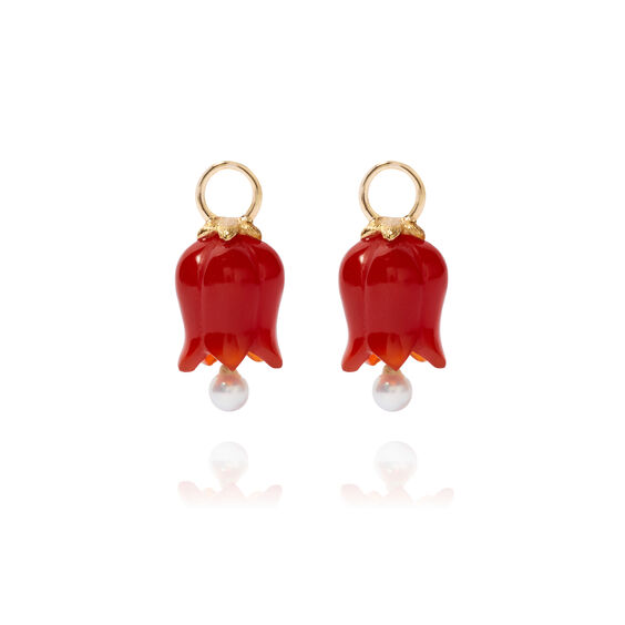 18ct Gold Red Agate Pearl Tulip Earring Drops | Annoushka jewelley