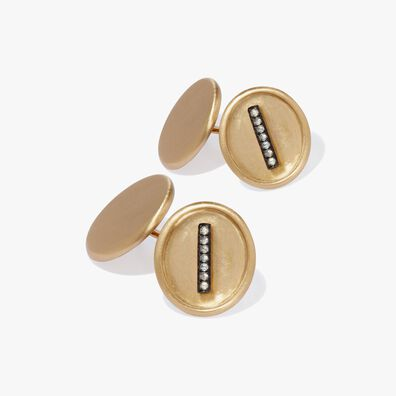 18ct Satin Gold Diamond Initial I Cufflinks