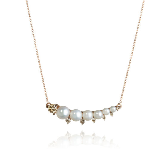 Diamonds & Pearls 18ct Rose Gold Necklace | Annoushka jewelley