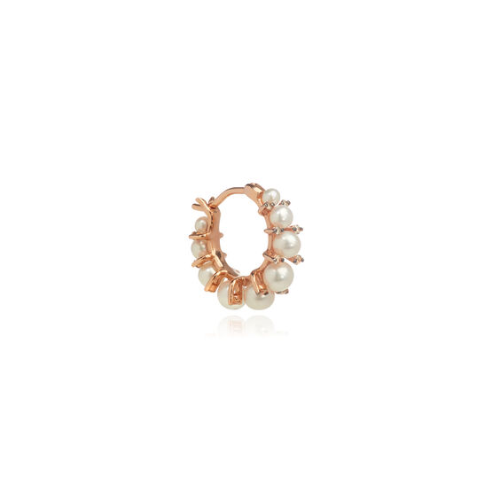 Diamonds & Pearls 18ct Rose Gold Single Hoop