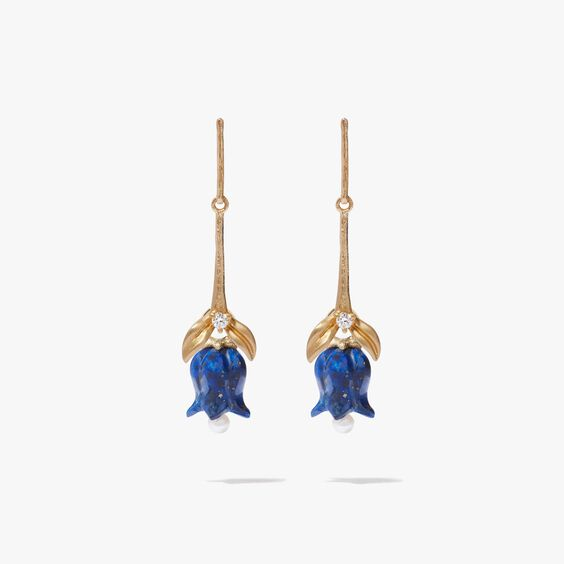 18ct Gold & Lapis Lazuli Tulip Earrings | Annoushka jewelley