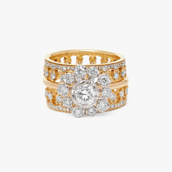 18ct Gold Marguerite Diamond and Double Crown Ring Stack