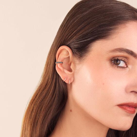 Dusty Diamonds 18ct Rose Gold Blue Diamond Ear Cuff