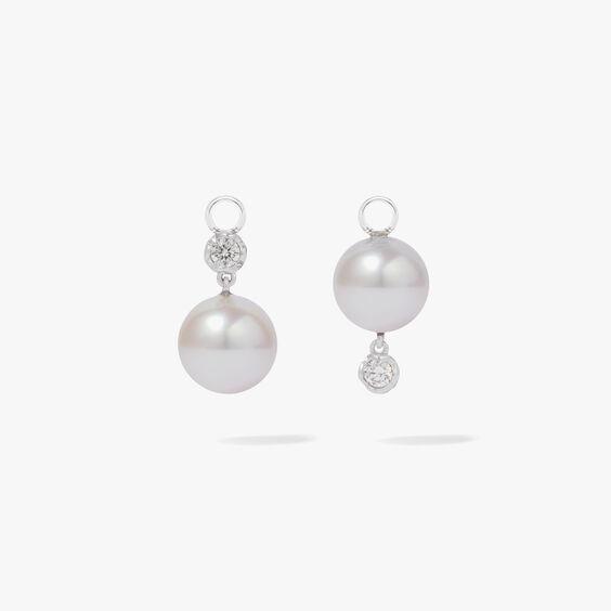 18ct White Gold Diamonds & White Pearl Drop Earrings | Annoushka jewelley