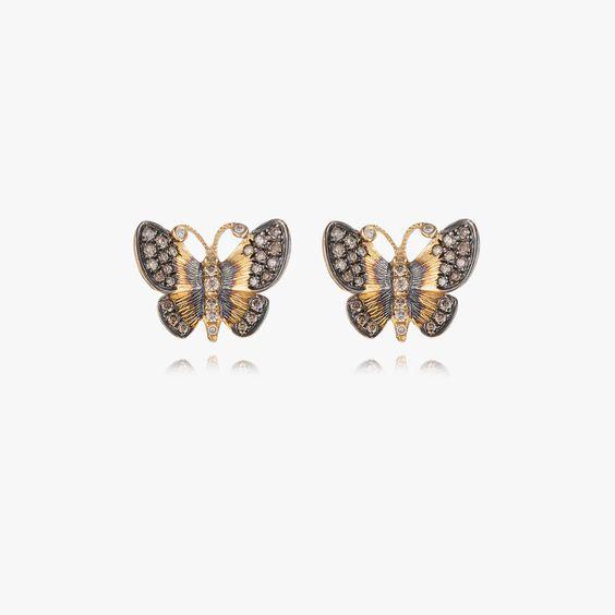 Butterflies 18ct Gold Diamond Large Stud Earrings