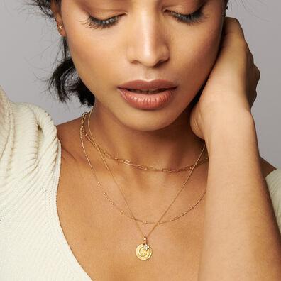 Gold Pisces & Aquamarine March Birthstone Necklace