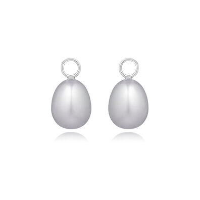 18ct White Gold Baroque Grey Pearl Earring Drops