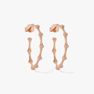 Bamboo 18ct Rose Gold Diamond Hoop Earrings
