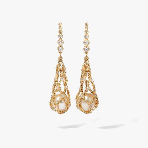 Lattice 18ct Gold Pearl & Diamond Net Earrings