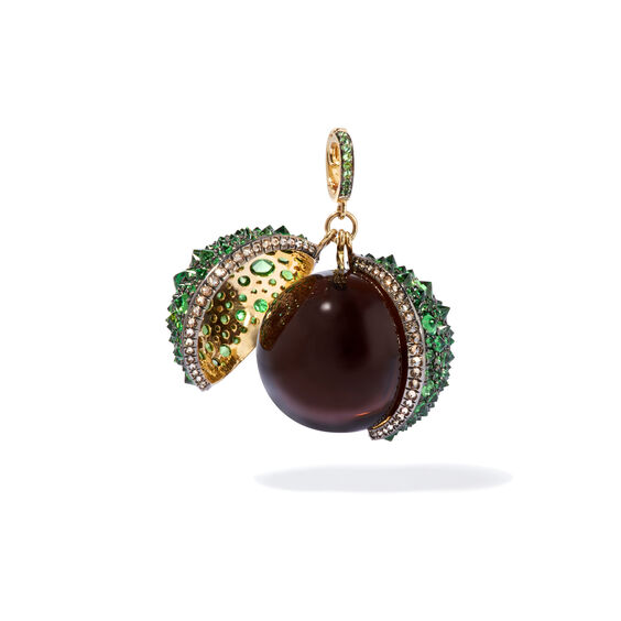 Mythology 18ct Gold Smoky Quartz Conker Seed Pendant | Annoushka jewelley