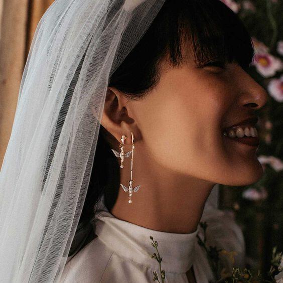 18ct Gold Pearl Diamond Lovebirds Earring Drops
