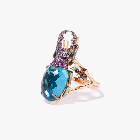 Mythology 18ct Rose Gold Topaz Beetle Ring