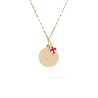 Tokens 14ct Gold Pink Sapphire & Disc Necklace