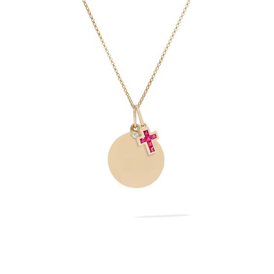 Tokens 14ct Gold Pink Sapphire & Disc Necklace | Annoushka jewelley
