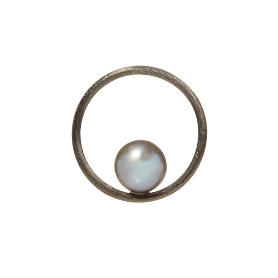 18ct White Gold Grey Pearl Hoopla