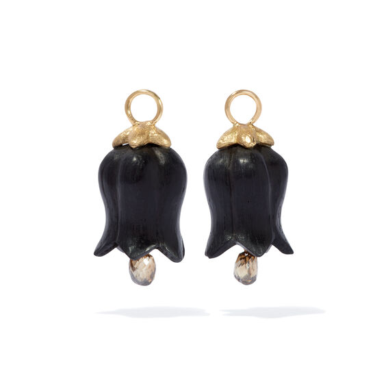18ct Gold Ebony Diamond Tulip Earring Drops   Annoushka jewelley