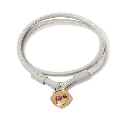 Lovelock 18ct Gold 35cms Cream Leather Heart & Arrow Charm Bracelet