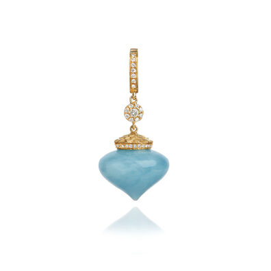 Touch Wood 18ct Gold Diamond Aquamarine Charm