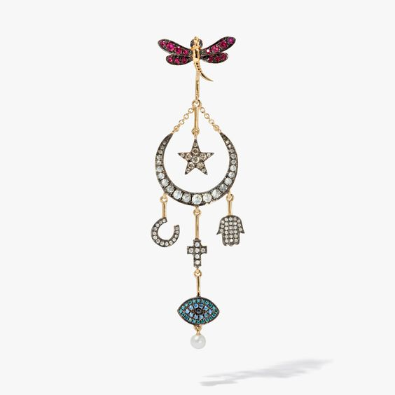 Love Diamonds 18ct Yellow Gold Diamond Lunar Left Earring | Annoushka jewelley
