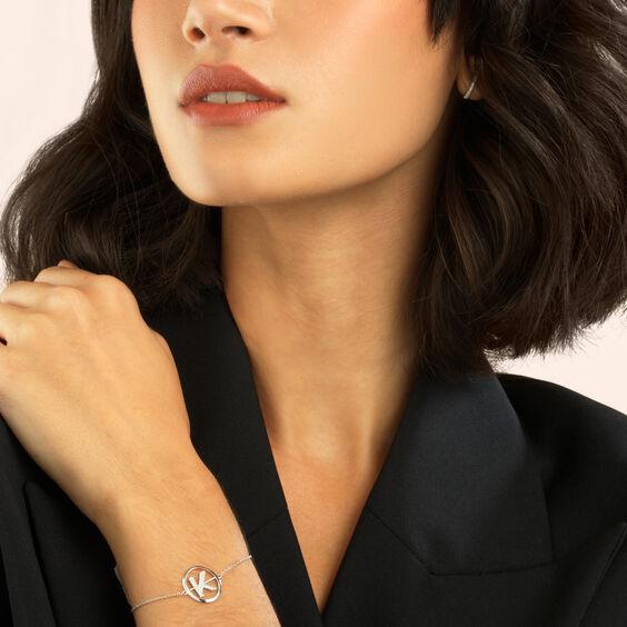 18ct White Gold Diamond Initial K Bracelet | Annoushka jewelley