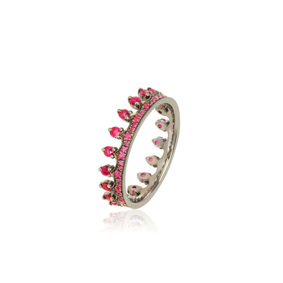 Crown 18ct White Gold Ruby Ring | Annoushka jewelley